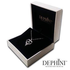 DEPHINI - Heart Necklace - 925 Sterling Silver Jewellery - Double Heart Pendant with CZ Crystals