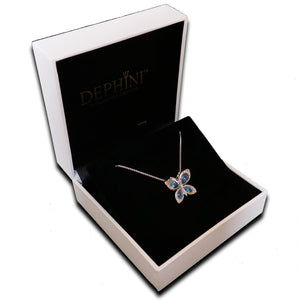 DEPHINI Butterfly Necklace Women Light Blue Cubic Zirconia Crystals 925 Sterling Silver