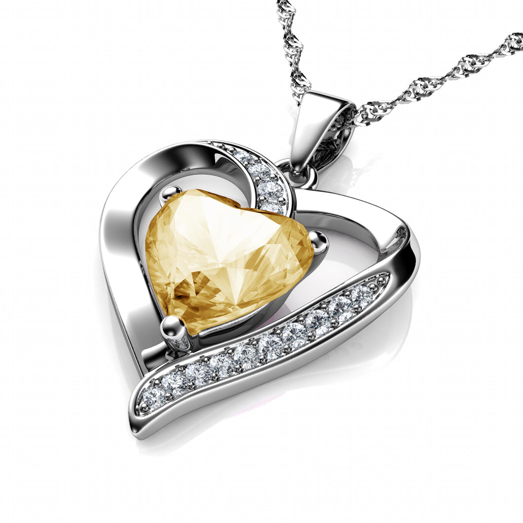 DEPHINI Yellow Heart Necklace 925 Sterling Silver Heart Pendant Embellished with Dephini Crystal