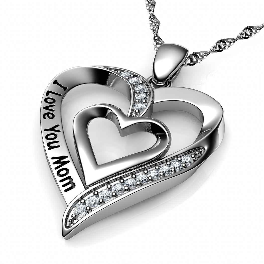 I Love You Mom Necklace - 925 Sterling Silver Heart Jewellery Dephini