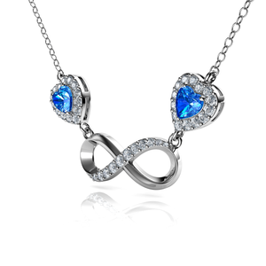 Copy of DEPHINI - Infinity Necklace - 925 Sterling Silver Pendant Blue CZ Crystals Gift
