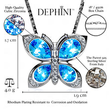 Load image into Gallery viewer, DEPHINI Butterfly Necklace Women Light Blue Cubic Zirconia Crystals 925 Sterling Silver