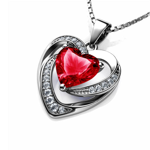 DEPHINI Red Heart Necklace - 925 Sterling Silver Heart Pendant Embellished with Swarovski® Crystal
