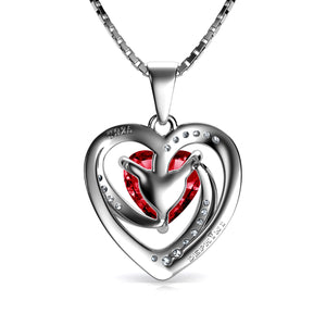 DEPHINI Red Heart Necklace - 925 Sterling Silver Heart Pendant Embellished with CZ Crystal
