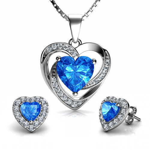 DEPHINI - Aqua Heart Necklace & Heart Earrings SET - 925 Sterling Silver with CZ Crystals
