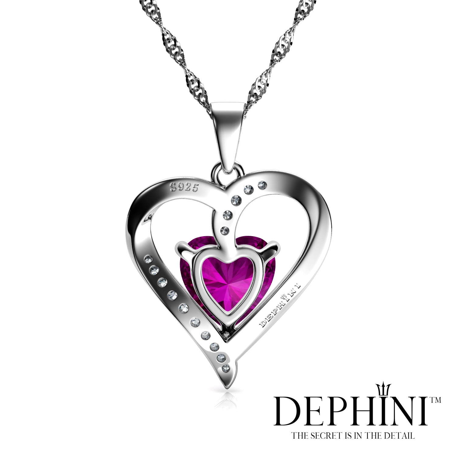 1622e4615fb5d DEPHINI Pink Heart Necklace - 925 Sterling Silver Heart Pendant Embell
