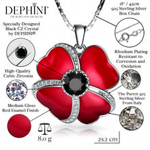 Load image into Gallery viewer, DEPHINI - Flower Necklace - 925 Sterling Silver Red Pendant with Red Enamel and black CZ Crystal