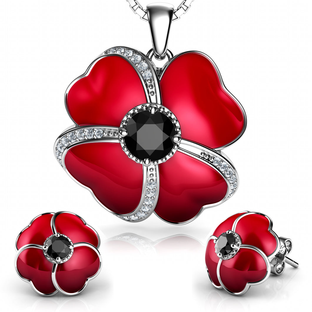 DEPHINI - Flower Jewellery set - 925 Sterling Silver Necklace and Earrings - Red Enamel and Black CZ Crystal Flower Pendant