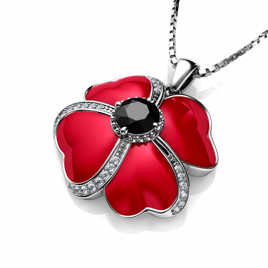 DEPHINI - Flower Necklace - 925 Sterling Silver Red Pendant with Red Enamel and black CZ Crystal