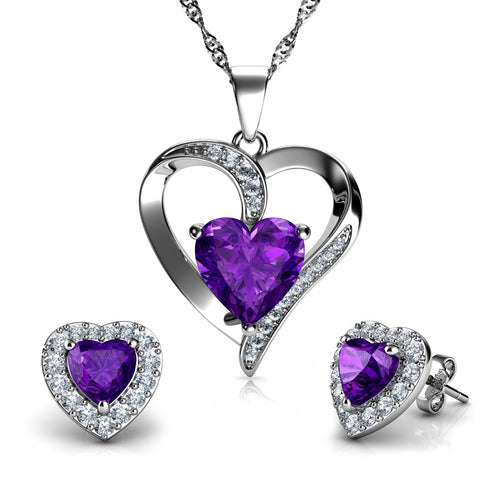 DEPHINI - Purple Heart Pendant Necklace & Heart Earrings SET - 925 Sterling Silver with CZ Crystals