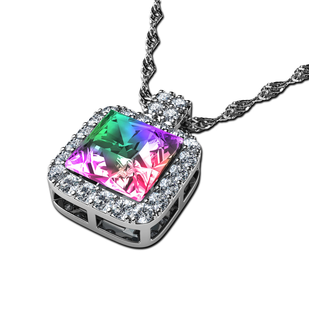DEPHINI - Rainbow crystal necklace - 925 sterling silver jewellery  100% Swarovski® branded Crystal