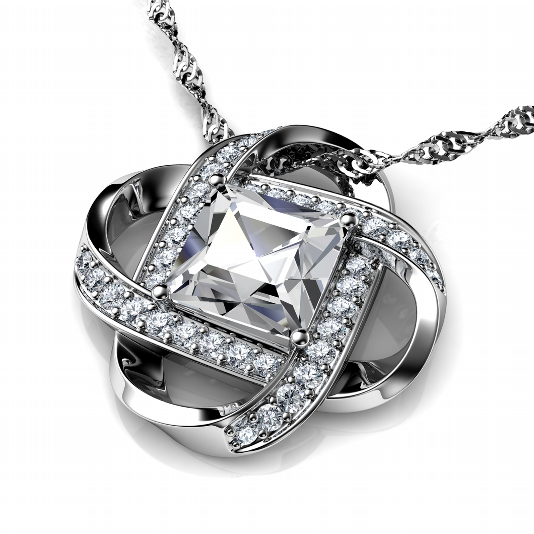 DEPHINI - Secret Love Necklace White Cubic Zirconia Crystal Pendant - 925 sterling silver  jewellery