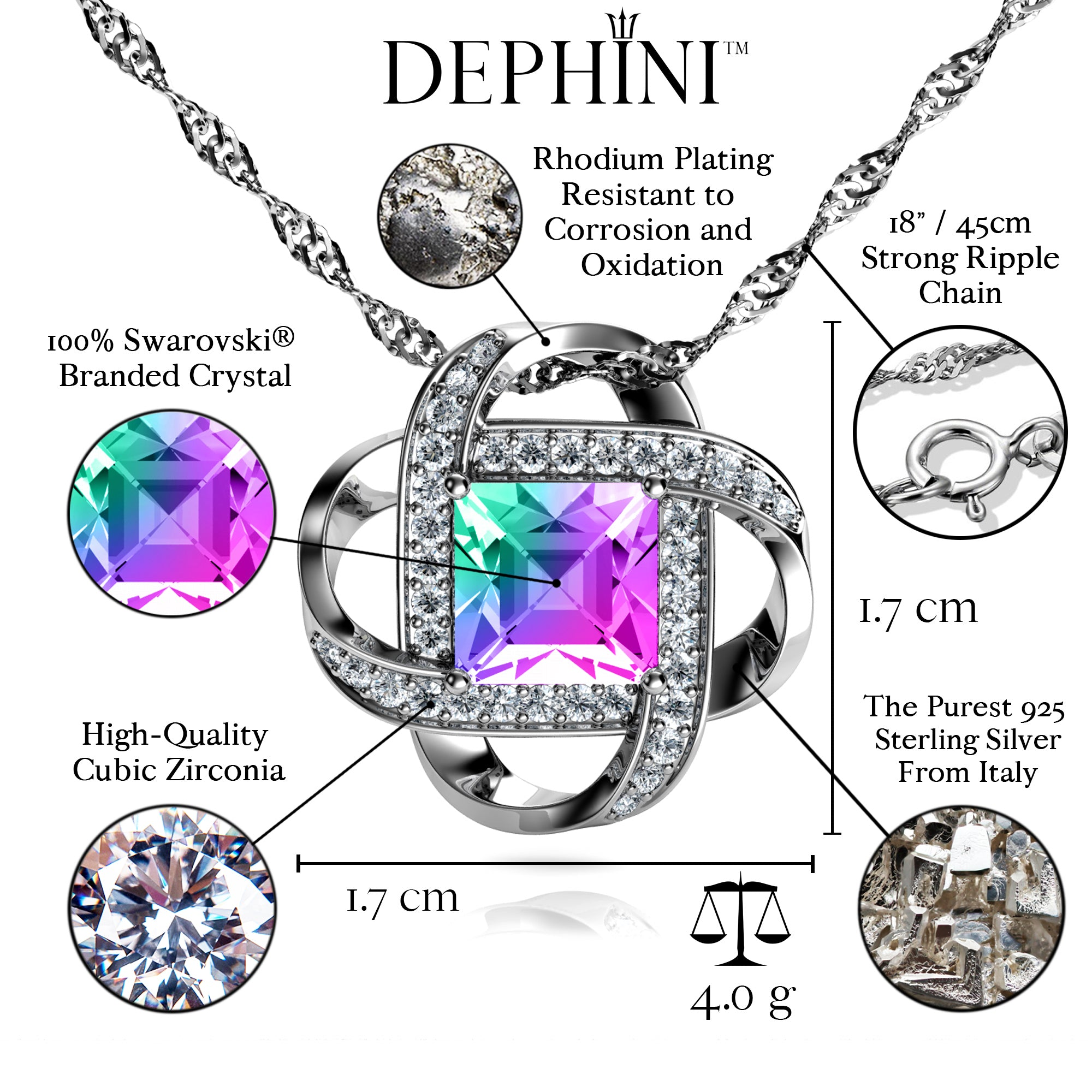 9a6f35eae3a ... Load image into Gallery viewer, DEPHINI - Rainbow crystal Pendant - 925  sterling silver jewellery ...