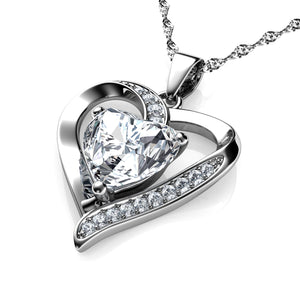 DEPHINI White Heart Necklace - 925 Sterling Silver Heart Pendant Embellished with CZ Crystal