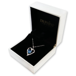 DEPHINI Aqua Heart Necklace - 925 Sterling Silver Heart Pendant Embellished with Swarovski® Crystal