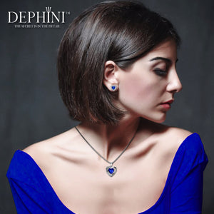 DEPHINI Blue Heart Necklace & Heart Earrings Silver Blue Jewellery SET