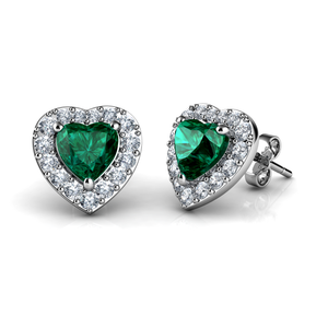 Green heart earrings set
