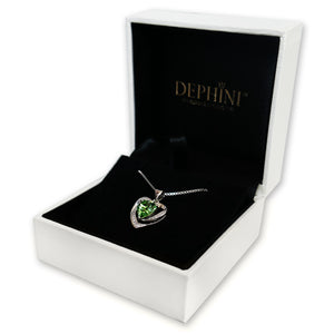 DEPHINI Green Heart Necklace - 925 Sterling Silver Heart Pendant Embellished with Swarovski® Crystal