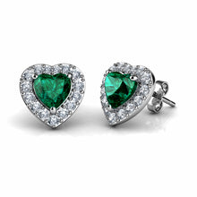 Load image into Gallery viewer, Green Heart Earrings