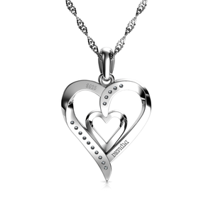 "DEPHINI - Heart Necklace - 925 Sterling Silver - Double Love Heart Pendant with CZ Crystals - Fine Jewellery For Women 18"" Rhodium Plated Silver Chain"