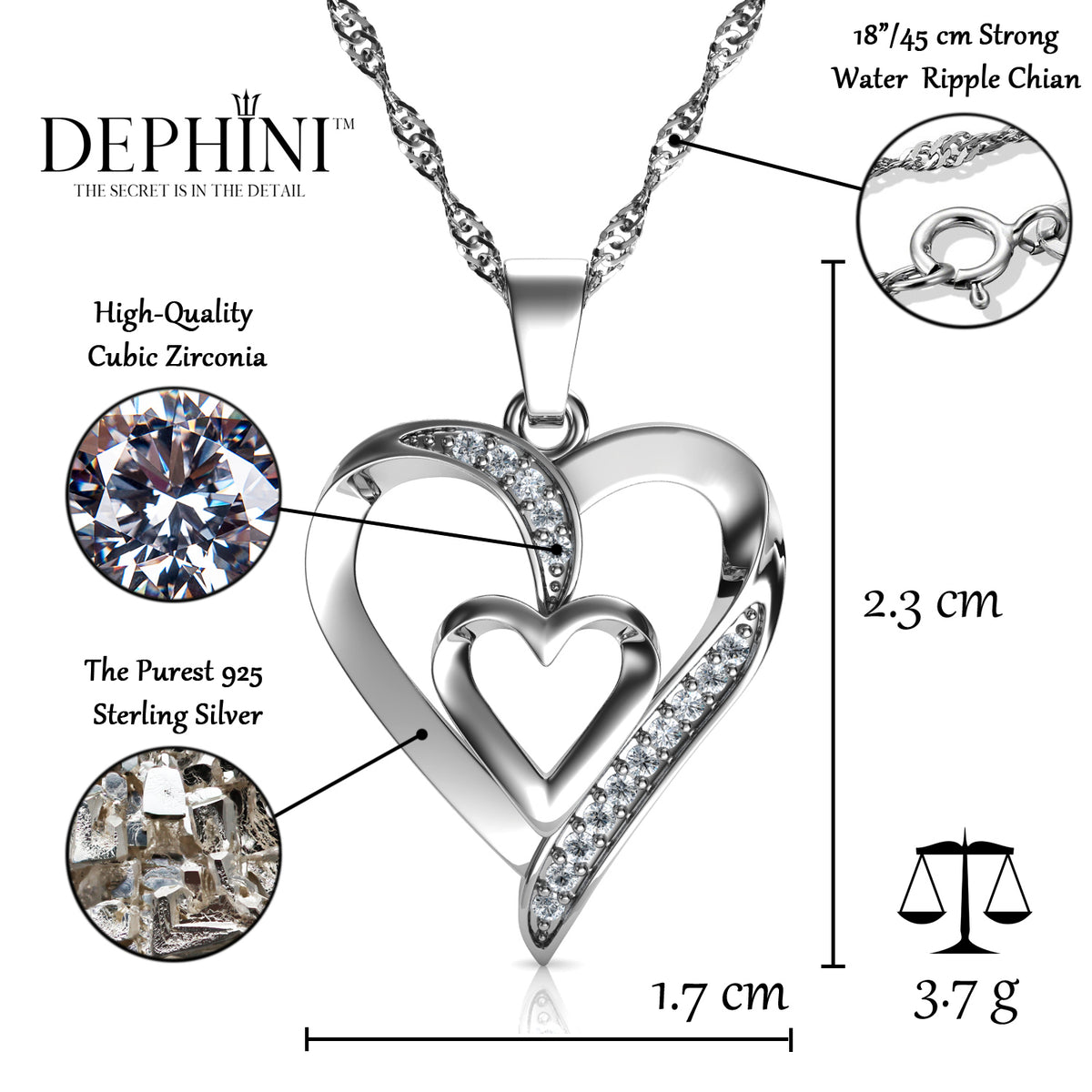 Valentine/'s Day Gift 925 Sterling Silver Zircon Love Heart Pendant Necklace 18/'/'