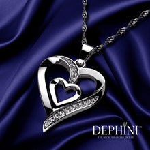 Load image into Gallery viewer, DEPHINI - Heart Necklace - 925 Sterling Silver Jewellery - Double Heart Pendant with CZ Crystals