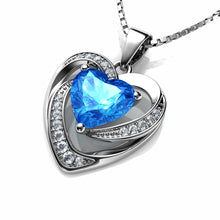 Load image into Gallery viewer, Blue heart pendant necklace