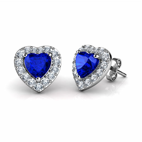 DEPHINI Blue Heart Earrings - 925 Sterling Silver Heart Stud Embellished with CZ Crystals