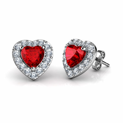 DEPHINI Red Heart Earrings - 925 Sterling Silver Heart Stud Embellished with Swarovski® Crystals