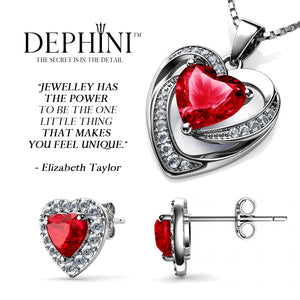 DEPHINI Red Heart Necklace & Heart Earrings SET - 925 Sterling Silver with Swarovski® Crystals