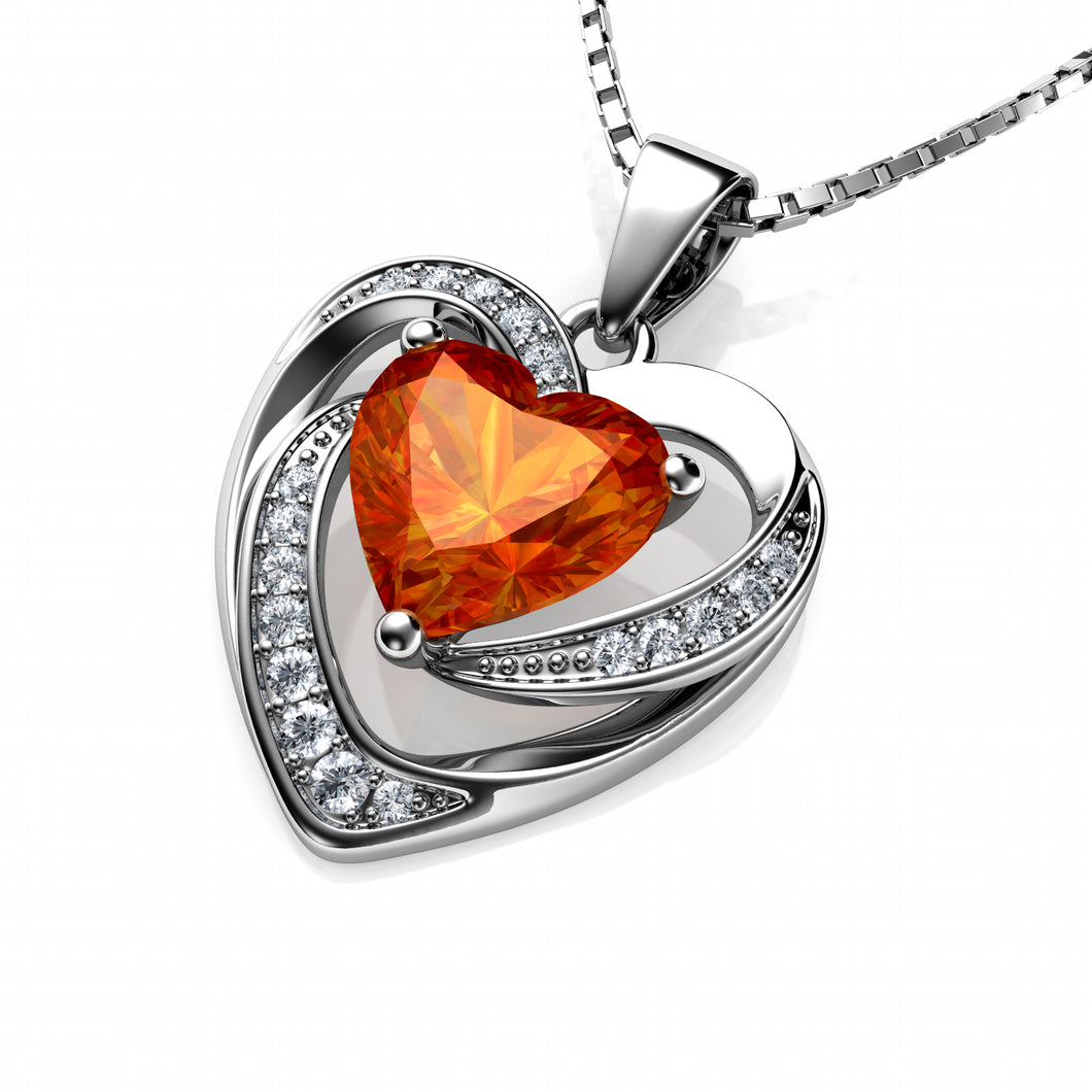 DEPHINI Orange Heart Necklace - 925 Sterling Silver Pendant CZ Crystal