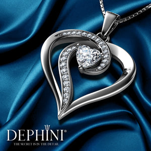 Elegant Necklace - 925 Sterling Silver Jewellery Heart Pendant Dephini