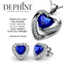 Load image into Gallery viewer, DEPHINI Blue Heart Necklace & Heart Earrings Silver Blue Jewellery SET