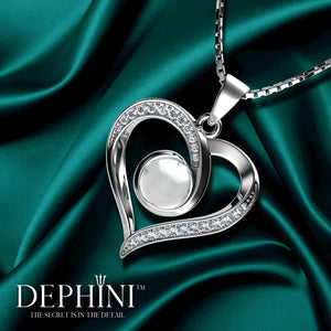 DEPHINI Real Pearl Necklace Woman Heart Pendant Cubic Zirconia 925 Sterling Silver Rhodium plating 45cm Sterling Silver Chain Fine Jewellery Box