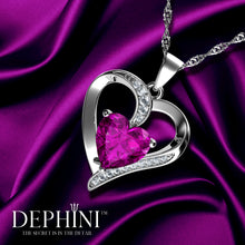 Load image into Gallery viewer, DEPHINI Pink Heart Necklace - 925 Sterling Silver Heart Pendant Embellished with Swarovski® Crystal