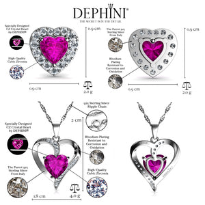 DEPHINI - Pink Heart Pendant Necklace & Heart Earrings SET - 925 Sterling Silver with CZ Crystals