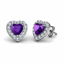 Load image into Gallery viewer, Purple Heart Earrings