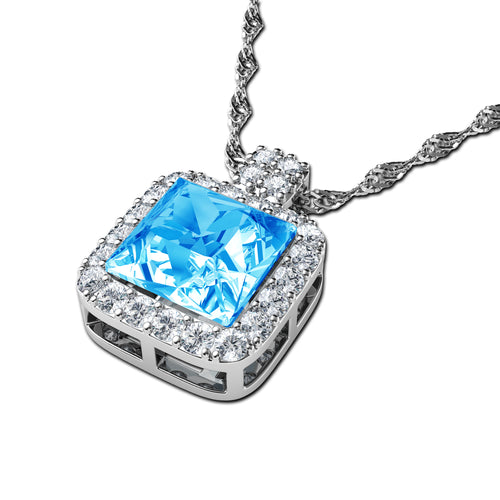 Copy of DEPHINI - Blue crystal necklace - 925 sterling silver jewellery  100%  branded Crystal