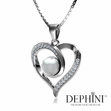 Load image into Gallery viewer, DEPHINI Real Pearl Necklace Woman Heart Pendant Cubic Zirconia 925 Sterling Silver Rhodium plating 45cm Sterling Silver Chain Fine Jewellery Box