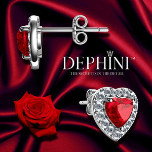 DEPHINI Red Heart Earrings - 925 Sterling Silver Heart Stud Embellished with CZ Crystals