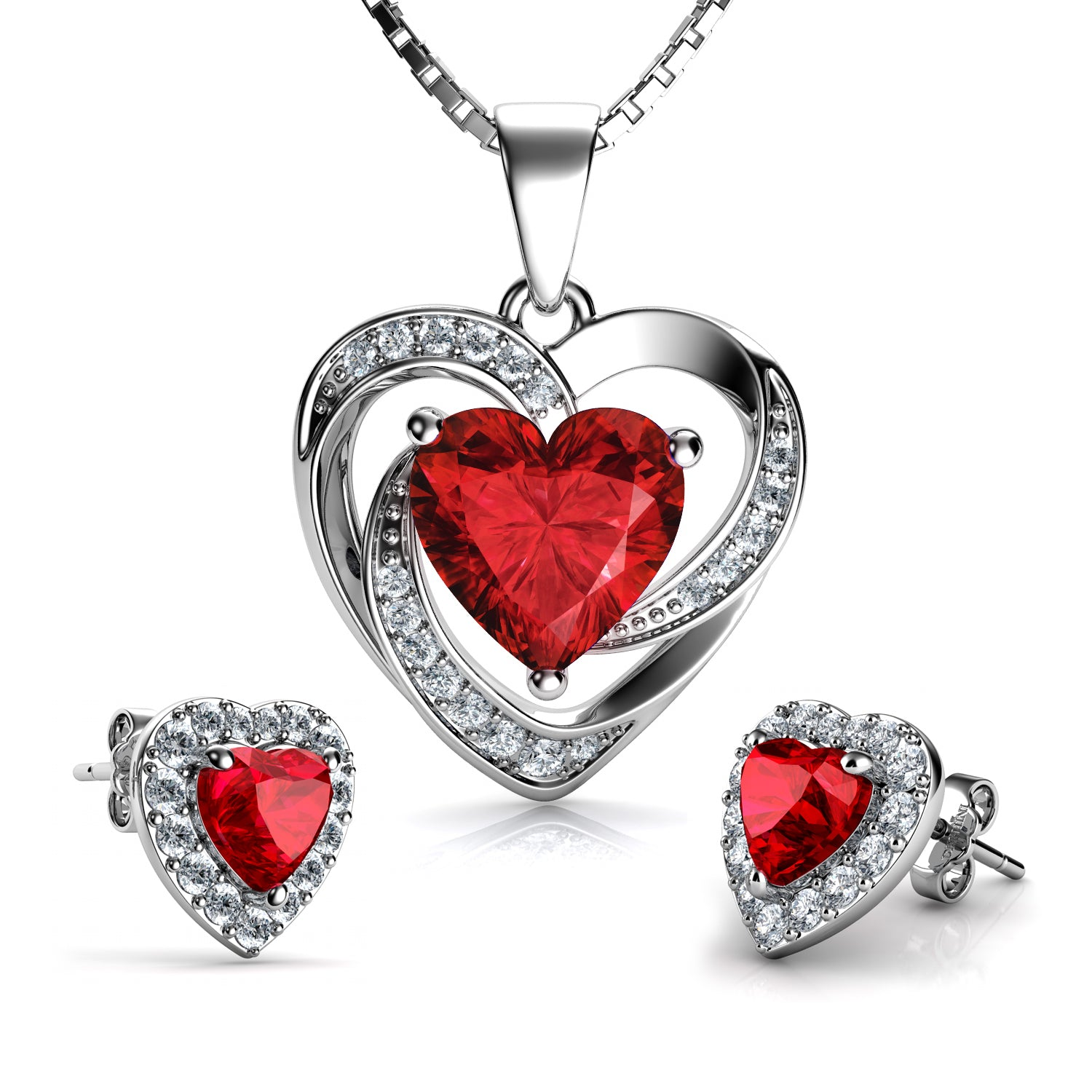 86bf776b0 ... Sterling Silver with Swarovski® Crystals. Previous slide. Load image  into Gallery viewer, DEPHINI Red Heart Necklace & Heart Earrings SET ...