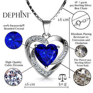 DEPHINI Blue Heart Necklace - 925 Sterling Silver Heart Pendant Embellished with Swarovski® Crystal