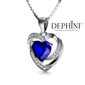 DEPHINI Blue Heart Necklace - 925 Sterling Silver Heart Pendant with White and Blue CZ Crystals