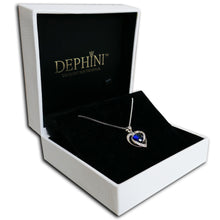 Load image into Gallery viewer, DEPHINI Blue Heart Necklace - 925 Sterling Silver Heart Pendant with White and Blue CZ Crystals