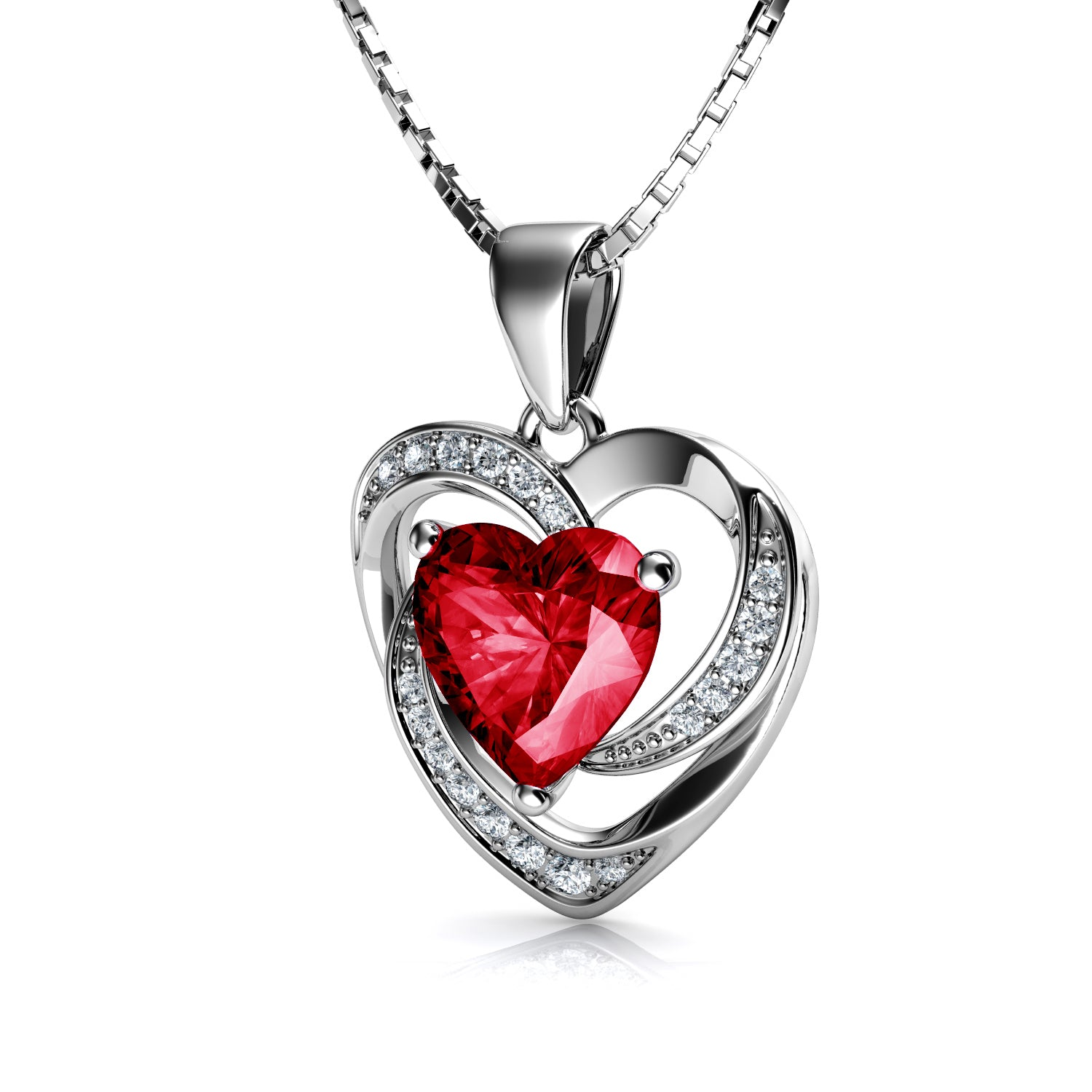 5d96872e6 Load image into Gallery viewer, DEPHINI Red Heart Necklace - 925 Sterling  Silver Heart Pendant ...