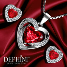 Load image into Gallery viewer, DEPHINI Red Heart Necklace & Heart Earrings SET - 925 Sterling Silver with Swarovski® Crystals