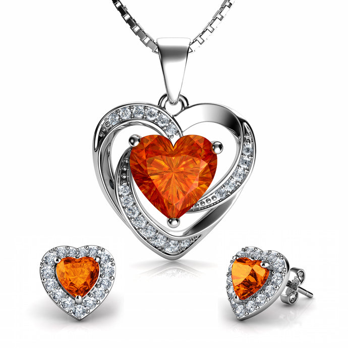 Orange Heart jewellery set