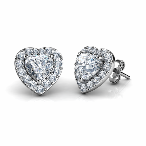 DEPHINI White Heart Earrings  925 Sterling Silver Heart Stud Earrings Embellished with CZ Crystals
