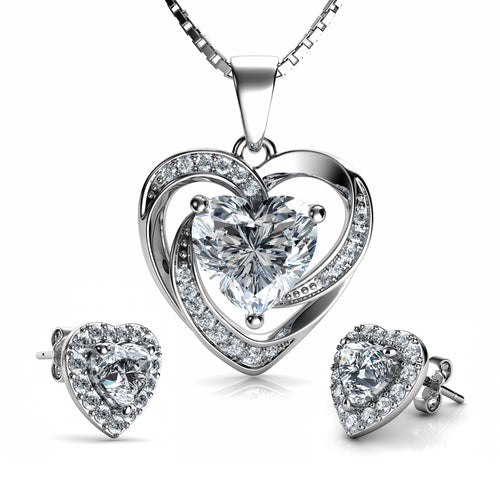 DEPHINI - White Heart Necklace & Heart Earrings SET - 925 Sterling Silver with CZ Crystals