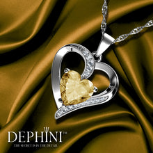 Load image into Gallery viewer, DEPHINI Yellow Heart Necklace 925 Sterling Silver Heart Pendant Embellished with Dephini Crystal